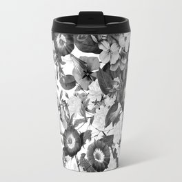 Night Garden Black and White Travel Mug