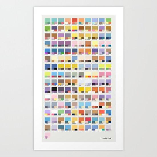 Poke-Pantone 1 (Kanto Region) Art Print
