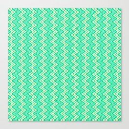 Turquoise Yellow Chevron on White Southwestern Country Ranch Contemporary Design Pattern Canvas Print