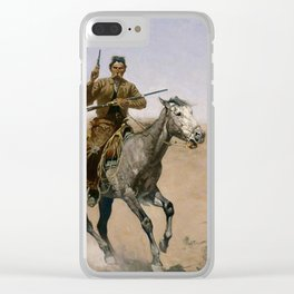 "Frederic Remington Western Art ""The Flight"" Clear iPhone Case"