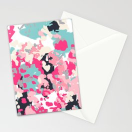 Addison - abstract minimal painting perfect gift valentines day hot pink love Stationery Cards