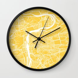 Prague map yellow Wall Clock