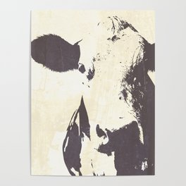 Rustic Cow Poster