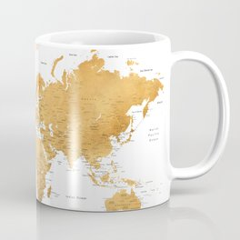 For God so loved the world, world map in gold Kaffeebecher