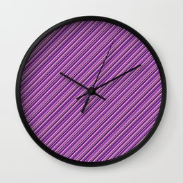 Lilac Purple Violet Inclined Stripes Wall Clock
