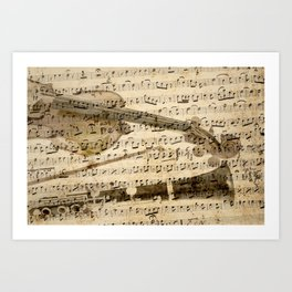 Violin and clarinet musical note background Art Print