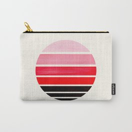 Red Mid Century Modern Minimalist Circle Round Photo Staggered Sunset Geometric Stripe Design Carry-All Pouch