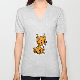 Cute Baby Lynx Animal Bobcat Gift Idea Unisex V-Neck