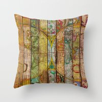 world maps Throw Pillows featuring Around the World in Thirteen Maps by Diego Tirigall