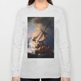 The Storm On The Sea Of Galilee Painting By Rembrandt Long Sleeve T-shirt