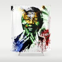 mandela Shower Curtains featuring Nelson Mandela by D77 The DigArtisT