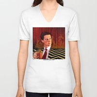 twin peaks V-neck T-shirts featuring Twin Peaks  by Magdalena Almero