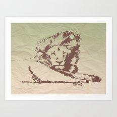 Lion Artwork Vintage Art Print