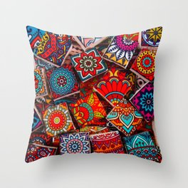 V1 Traditional Moroccan Colored Stones. Throw Pillow