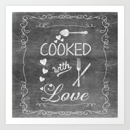Cooked with Love Retro Chalkboard Sign Art Print