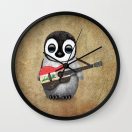 Baby Penguin Playing Iraqi Flag Acoustic Guitar Wall Clock