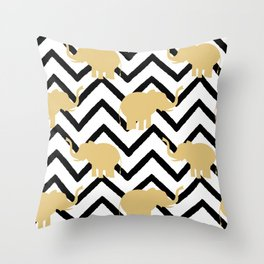 elephant gold silhouette on abstract black chevron Throw Pillow