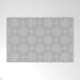 Snowflakes on Gray Welcome Mat