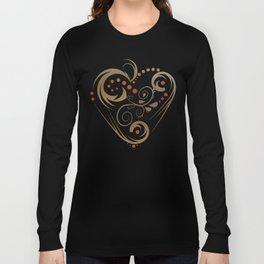 GOLDEN HEART  (valentine art deco abstract love) Long Sleeve T-shirt