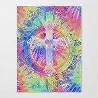 tye dye Canvas Prints featuring Tye Dye Cross  by Tree of Life Shop
