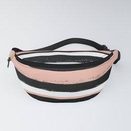 Stripes - Peach Grey Black White Fanny Pack