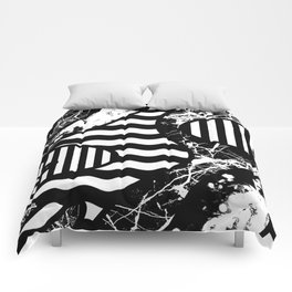 Curvy Contrast - Black and white stripes, waves, marble and paint splats abstract artwork Comforters