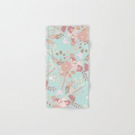 Vintage green pastel coral white rustic floral Hand & Bath Towel