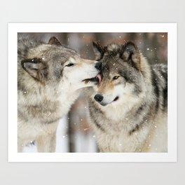 Wolf Kisses Art Print