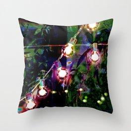 String Lights in the Garden Throw Pillow