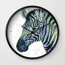 Zebra Watercolor Blue Green Animal Wall Clock