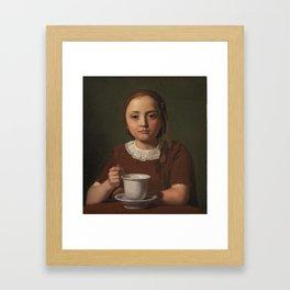 Constantin Hansen - En lille pige, Elise Købke, med en kop foran sig (1850) Framed Art Print