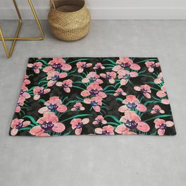 Pretty Pink Orchid Flower Paint Black design Rug