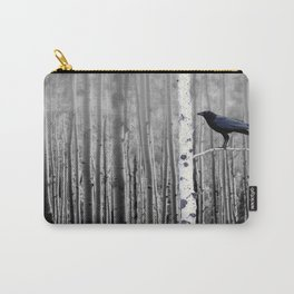 Black Bird Crow Tree Birch Forrest Black White Country Art A135 Carry-All Pouch