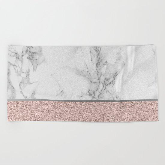 Marble + Glitter #2 Beach Towel