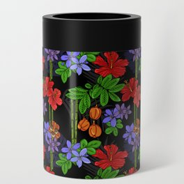 Jamaican Flowers and Fruits Tropical Pattern Can Cooler