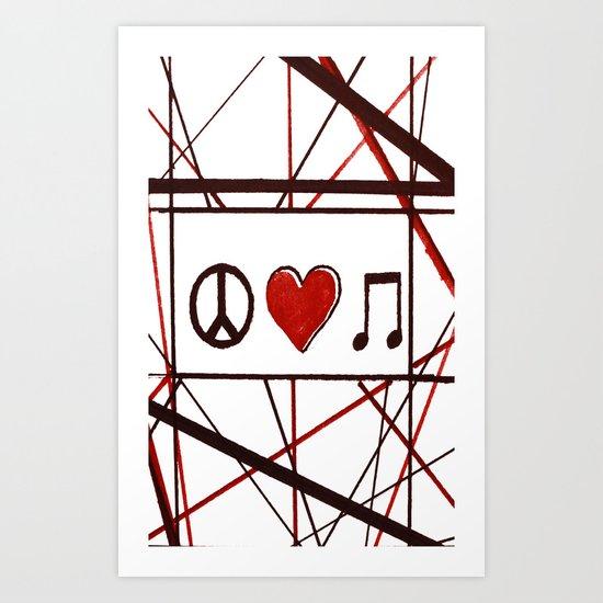 Peace Love Music Art Print