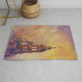 Watercolor painting of Cathedral bell-tower in the colonial city of Morelia at sunset- Mexico Rug