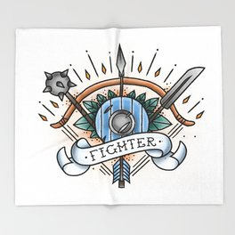 Fighter - Vintage D&D Tattoo Throw Blanket