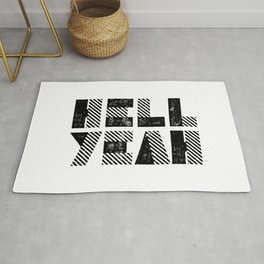 Hell Yeah motivational black and white yeh modern typographic quote poster canvas wall home decor Rug