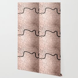 London Rosegold on Black Street Map Wallpaper