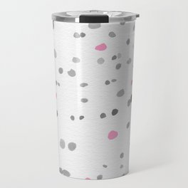 Dot Painting - Pink - Gray Travel Mug