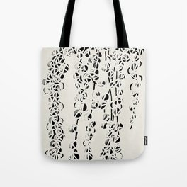Green Pearls Succulent Black and White Print Tote Bag