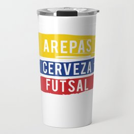 Arepas Cerveza Futsal design Colombian indoor soccer Gift Travel Mug