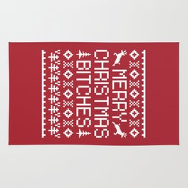 Merry Christmas Bitches Funny Xmas Quote Rug