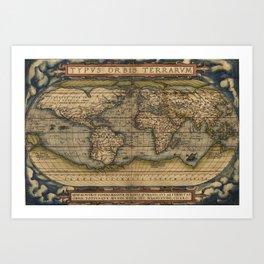 The world Ortelius Typus Orbis Terrarum 1564 Vintage World Art Print