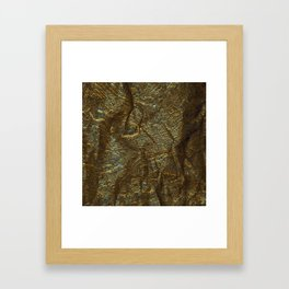 Gold and copper glitter wall Framed Art Print