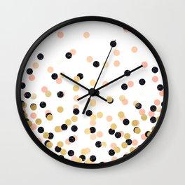 Pink & Black Polka Dots Wall Clock
