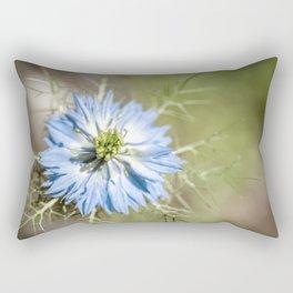 Blue flower close up Nigella love in the mist Rectangular Pillow