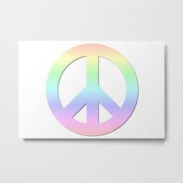 CND Peace Symbol Soft Pastel Rainbow Metal Print