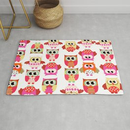 Funny cute hot pink yellow owl pattern Rug